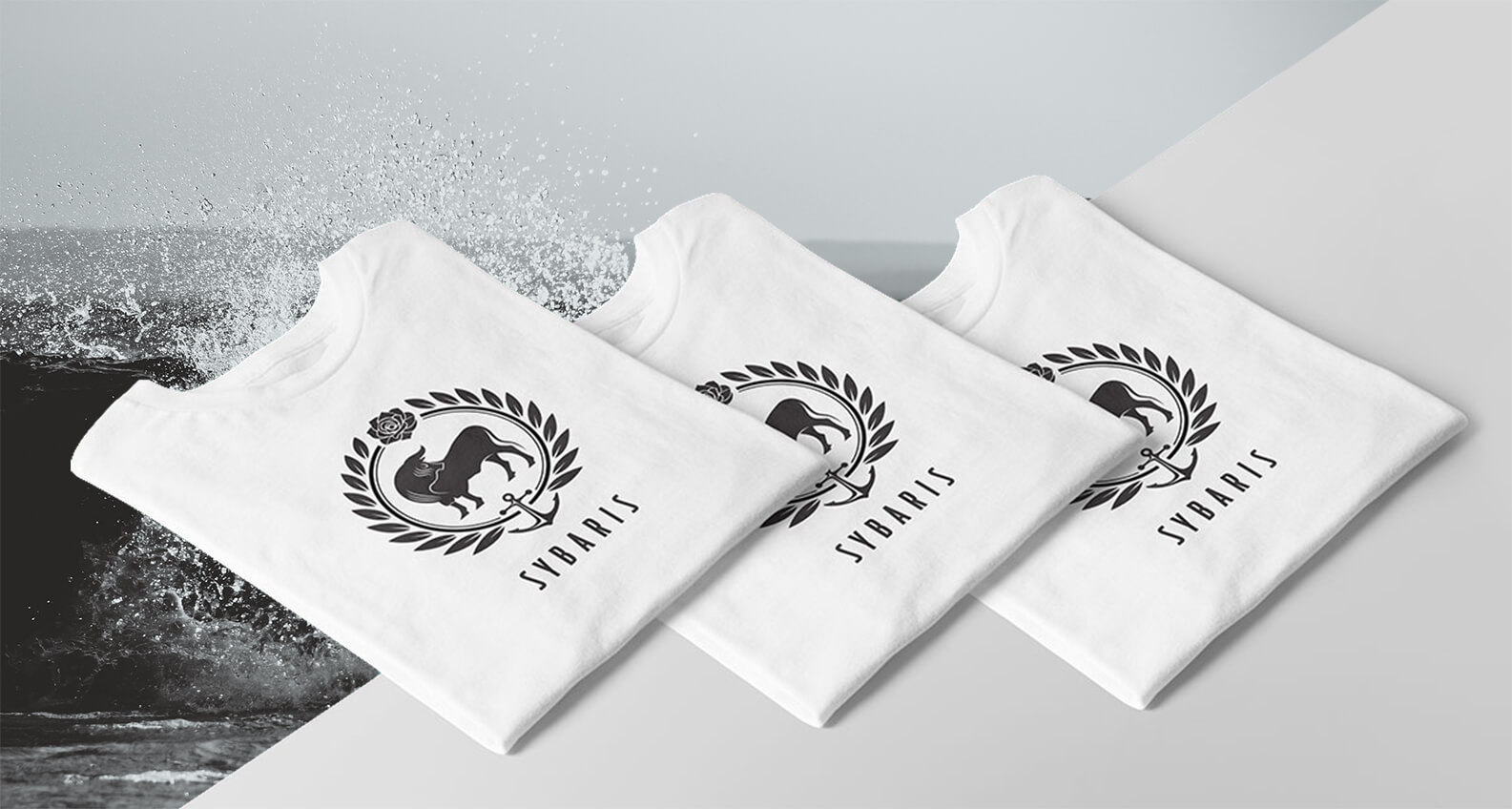 Sybaris logo and tshirt design by Jacober Creative