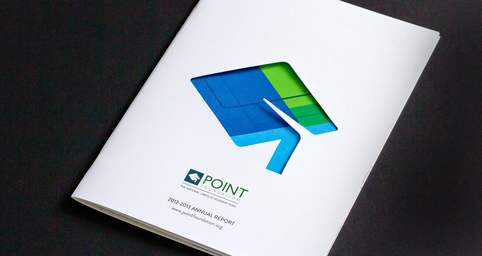 Point Foundation annual report layout design by Jacober Creative