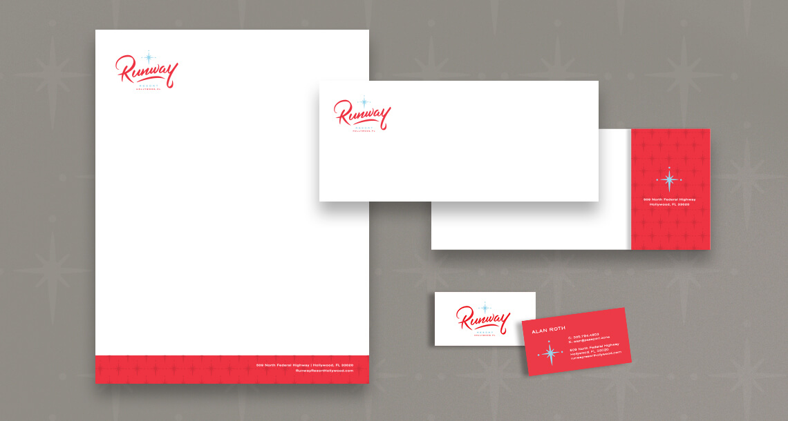 Runway branding collateral by Jacober Creative