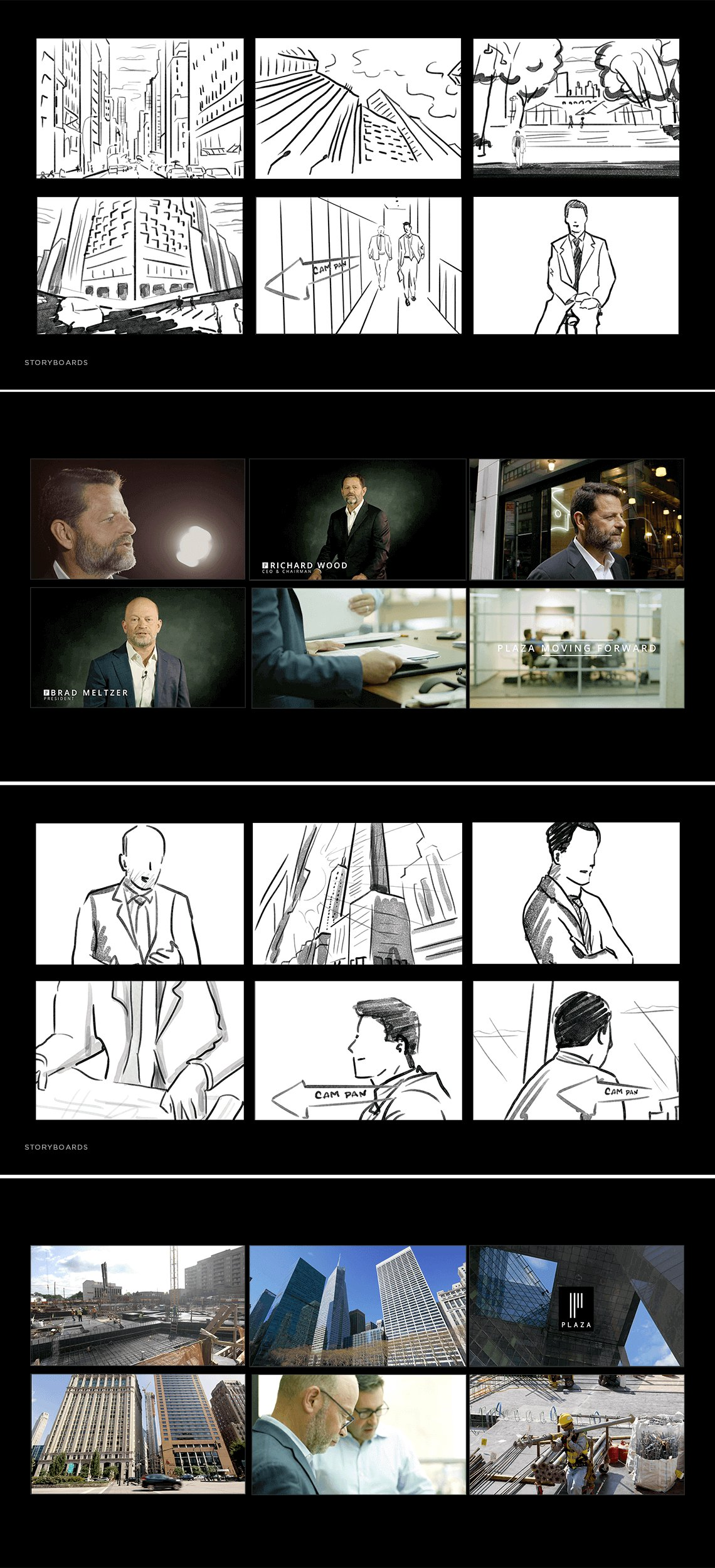 Jacober Creative Brand Identity for Plaza Construction - Photo of storyboard sketches compared to final video shot