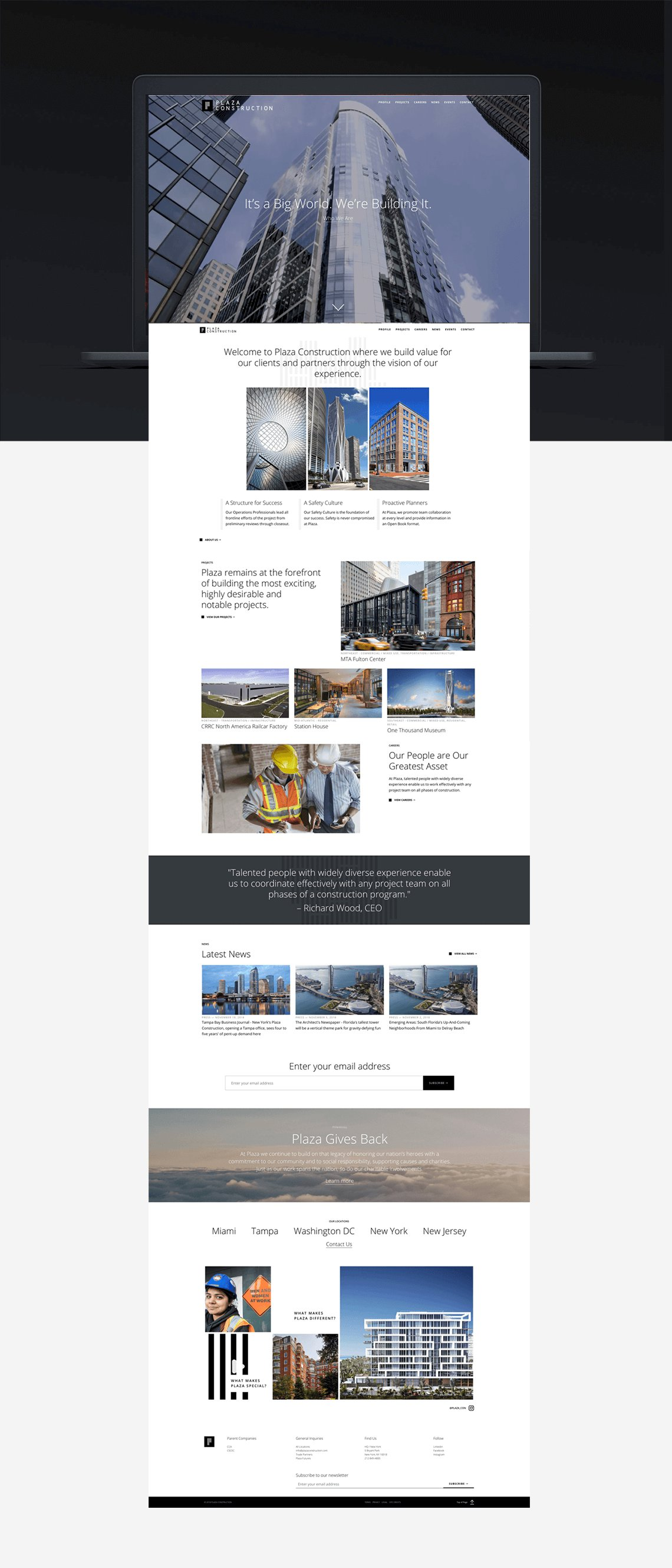 Jacober Creative Brand Identity for Plaza Construction - Photo of new website home page