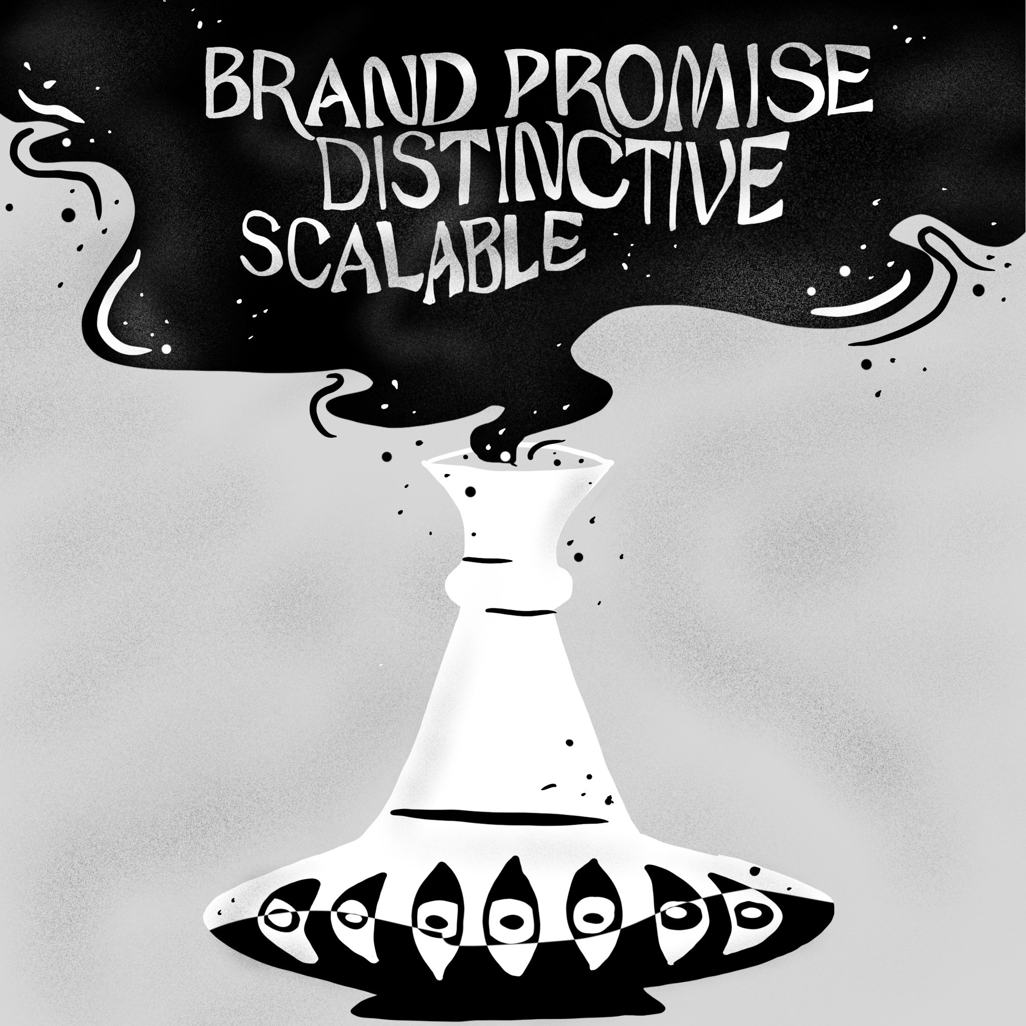 "Illustration of a genie bottle with words ""Brand Promise, Scalable & Distinctiv"