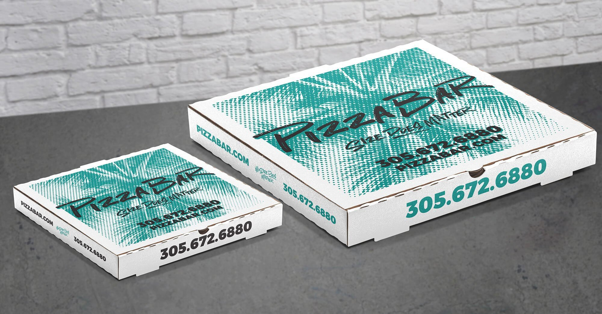 Pizza Bar branded delivery box design