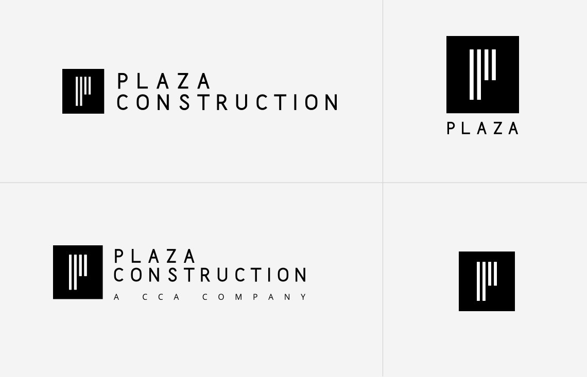 Jacober Creative Brand Identity for Plaza Construction - Photo of logo variants