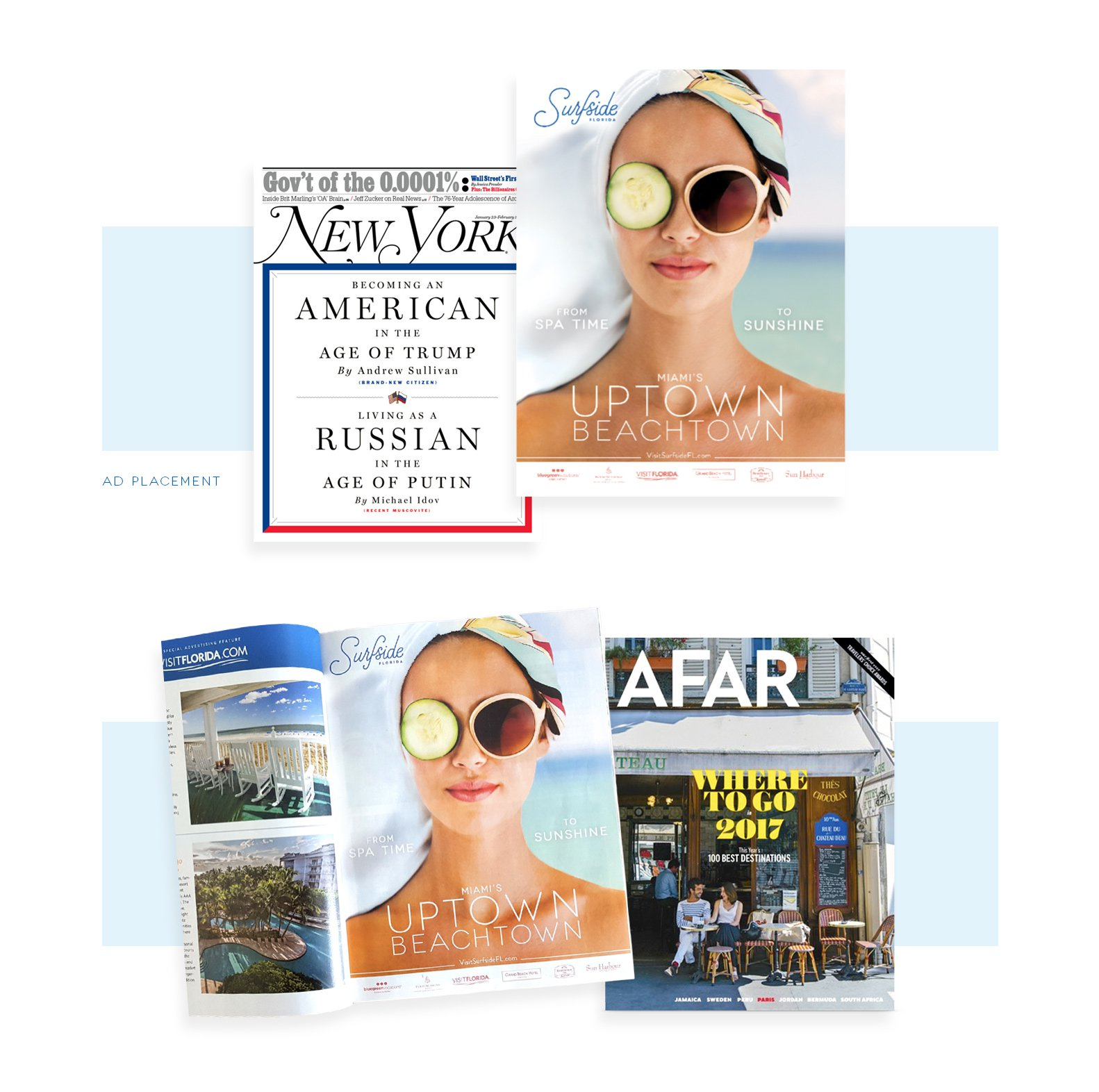 Jacober Creative Identity and Campaign for the Town of Surfside Florida - Photo of magazine ad featured in New York Magazine