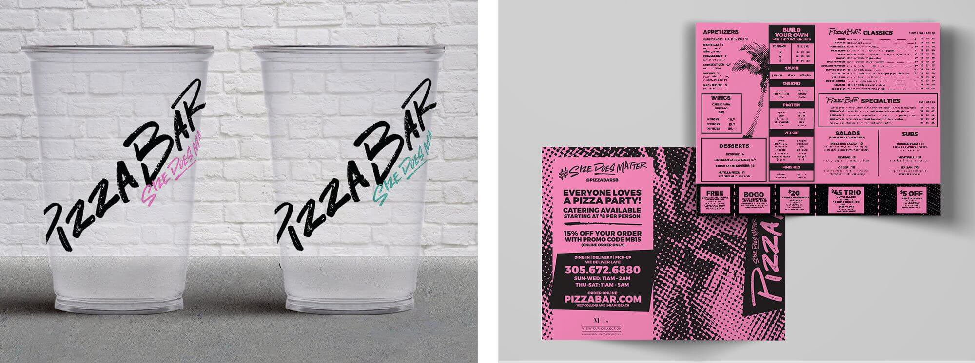 Pizza Bar branded cups