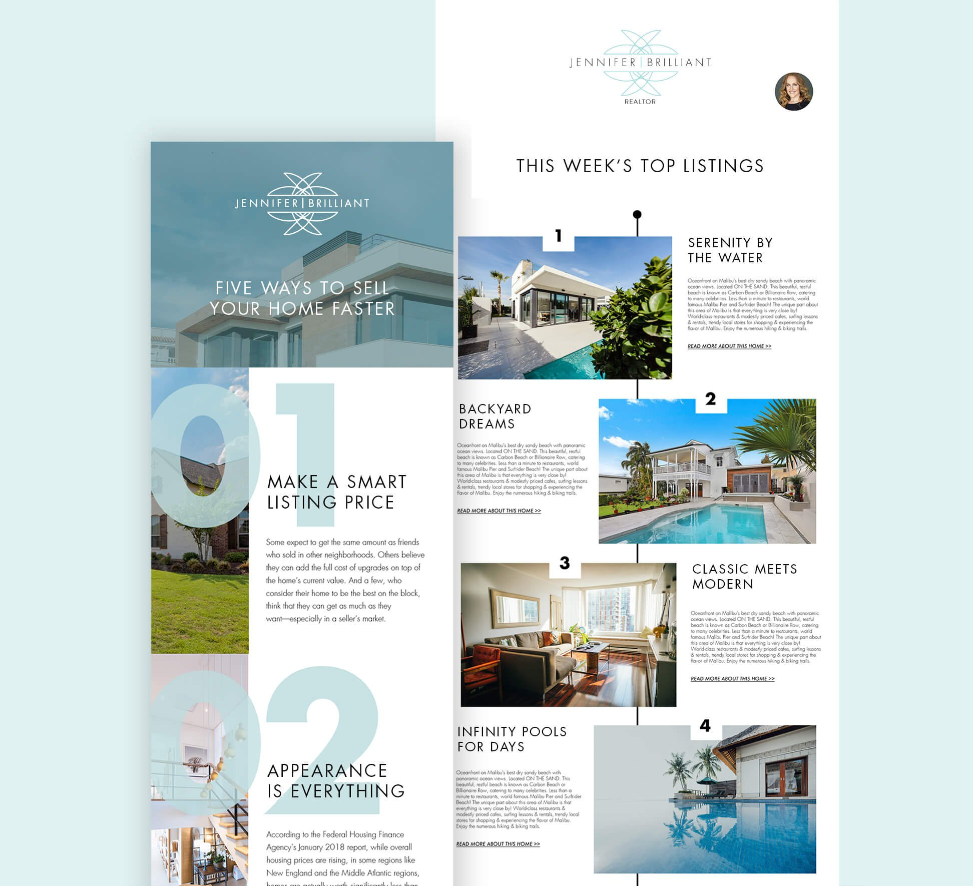 Jacober Creative Newsletter design for Jennifer Brilliant