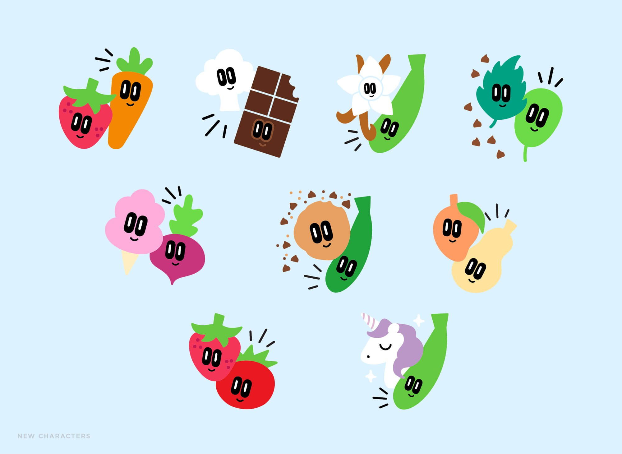 Jacober rebranding of Peekaboo Ice Cream. Photo of new veggie characters illustration representing the different flavor and veggie combinations