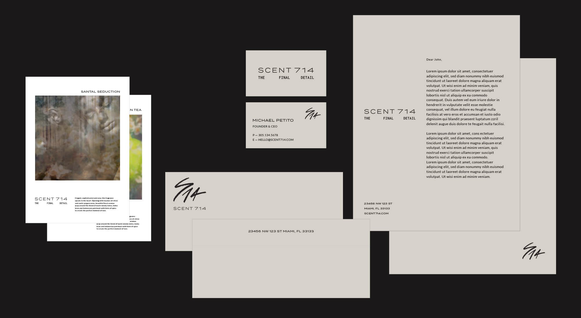 Jacober Creative Brand Identity for Scent 714 Custom Fragrances. Photo of stationery