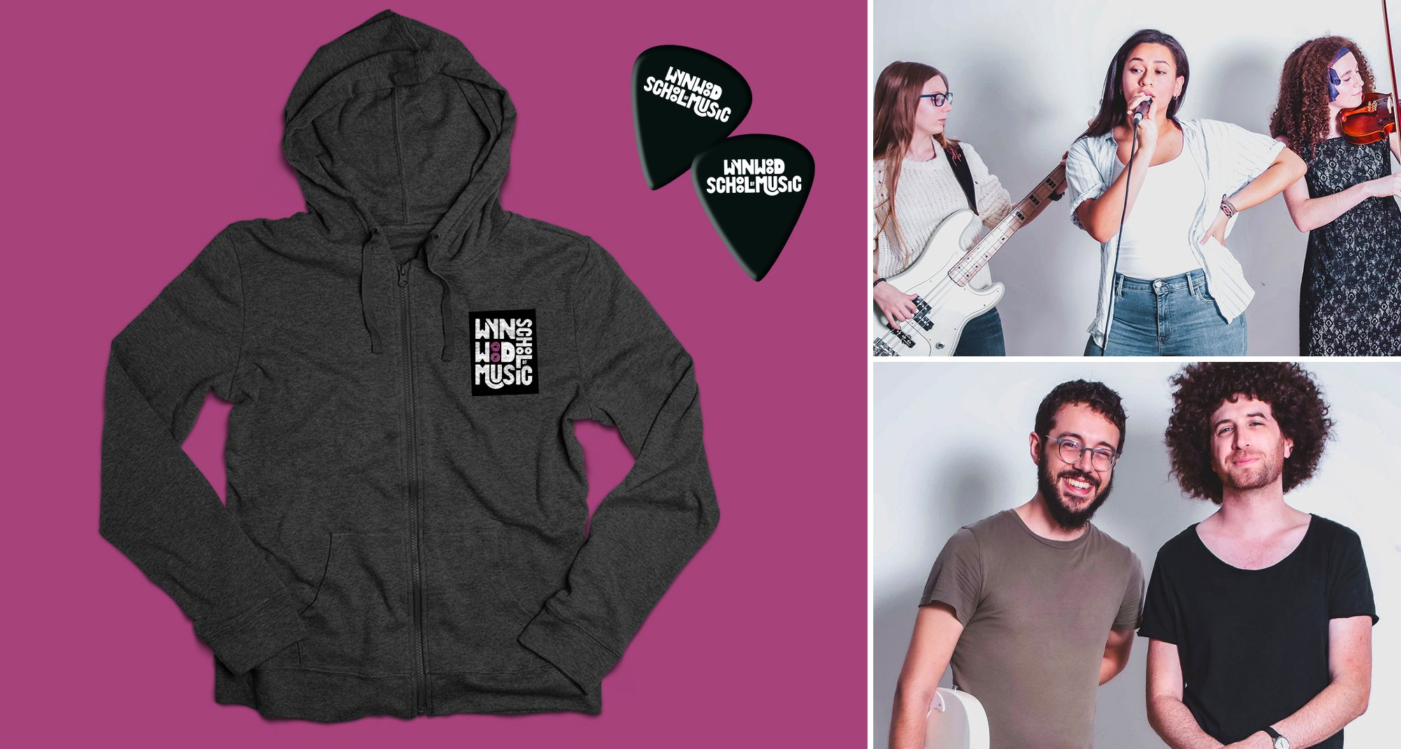 wynwood school of music apparel hoodie and guitar picks with photo grid of students and teachers