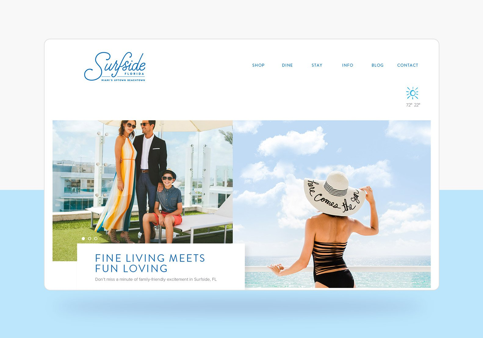 Jacober Creative Identity and Campaign for the Town of Surfside Florida - Photo of new responsive website Home page slider area