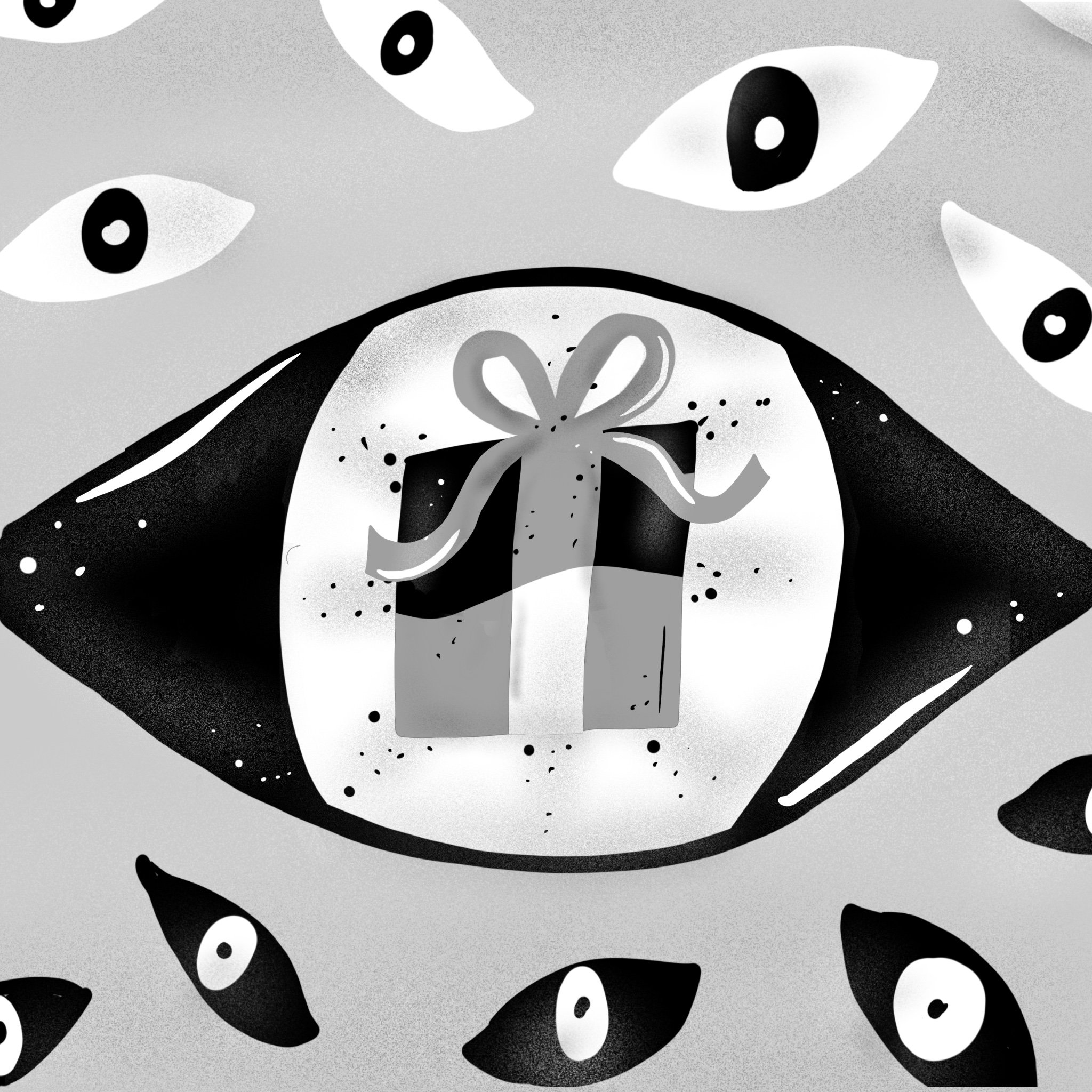 Illustration of an eye with a present in the reflection