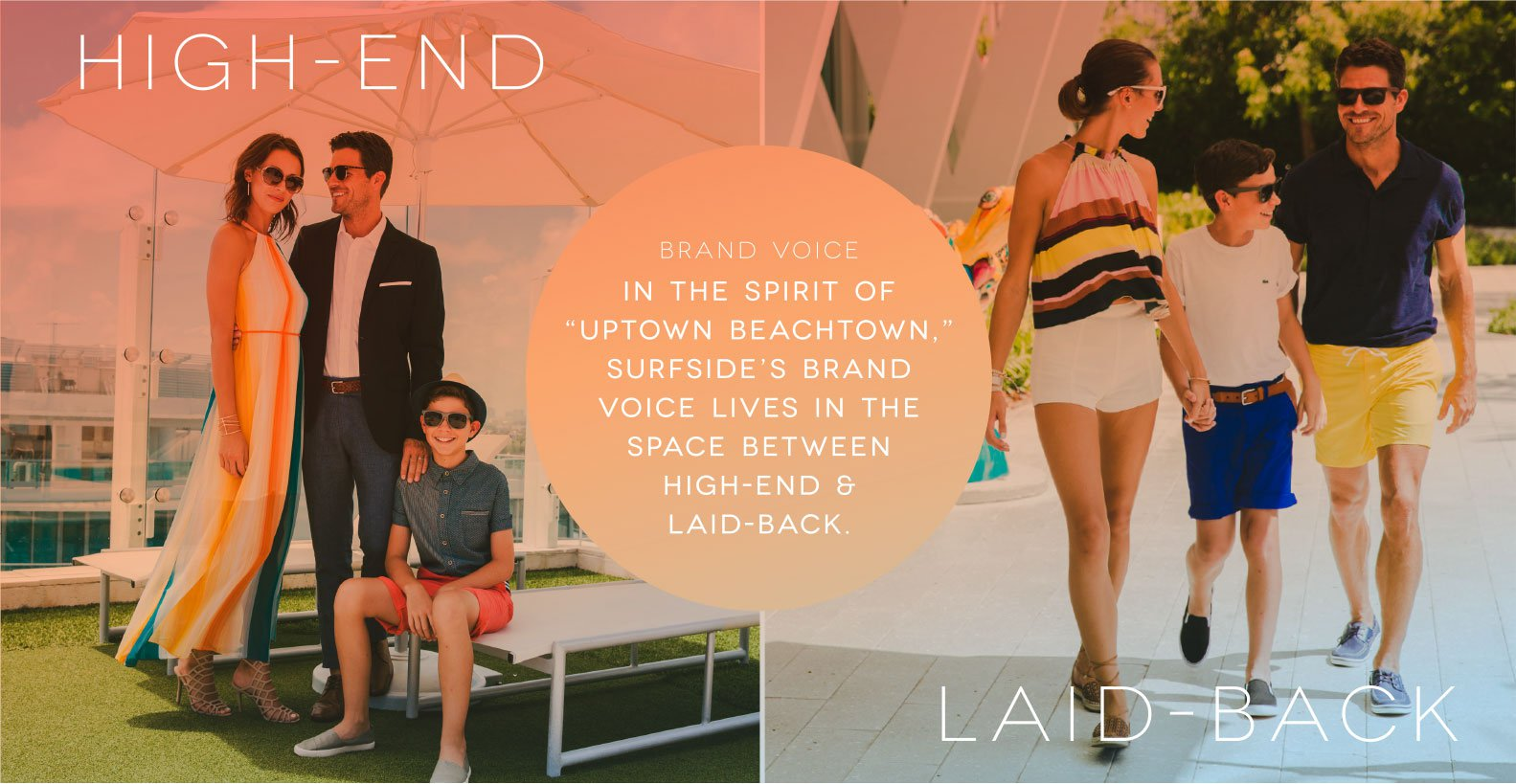 Jacober Creative Identity and Campaign for the Town of Surfside Florida - Photo of family dressed up and dressed down to communicate the high-end and laid-back vibe Surfside offers