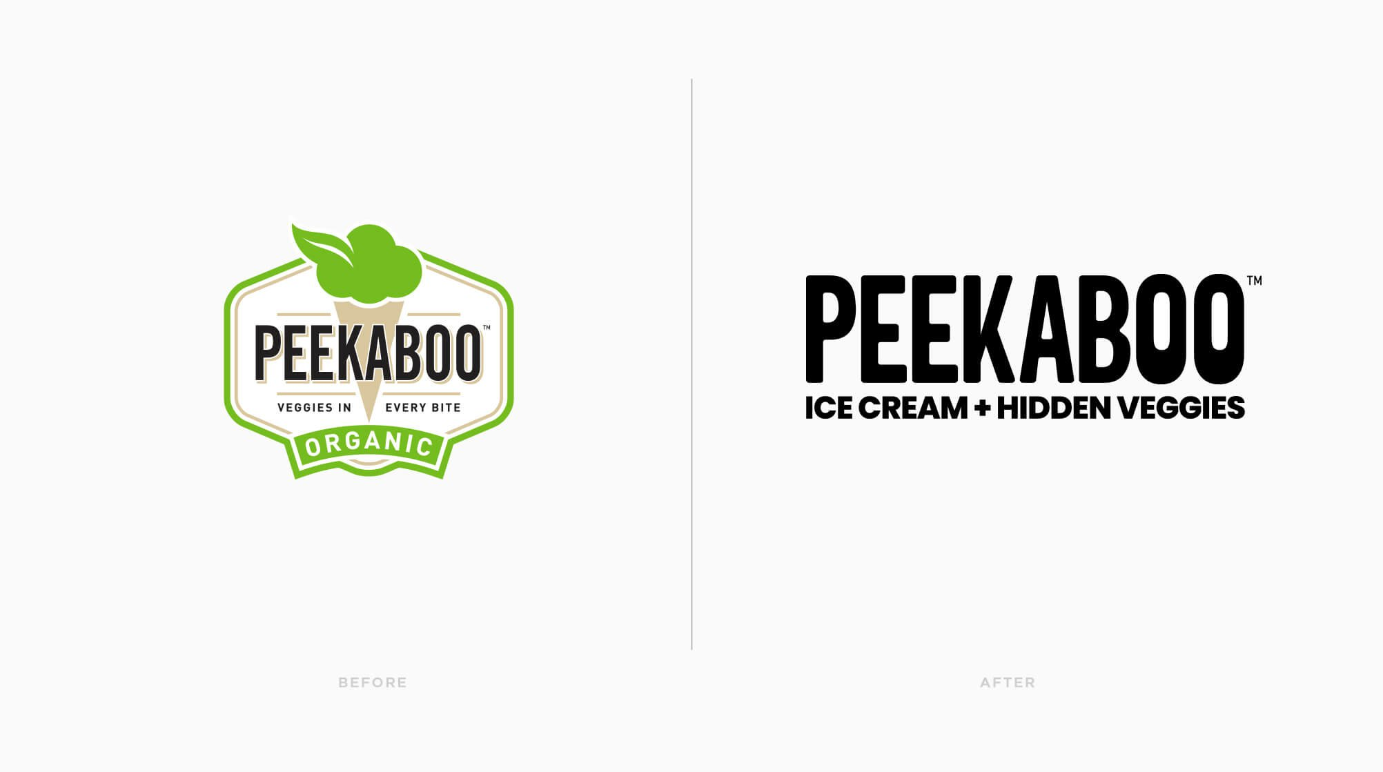 Jacober rebranding of Peekaboo Ice Cream. Photo of logo before and after