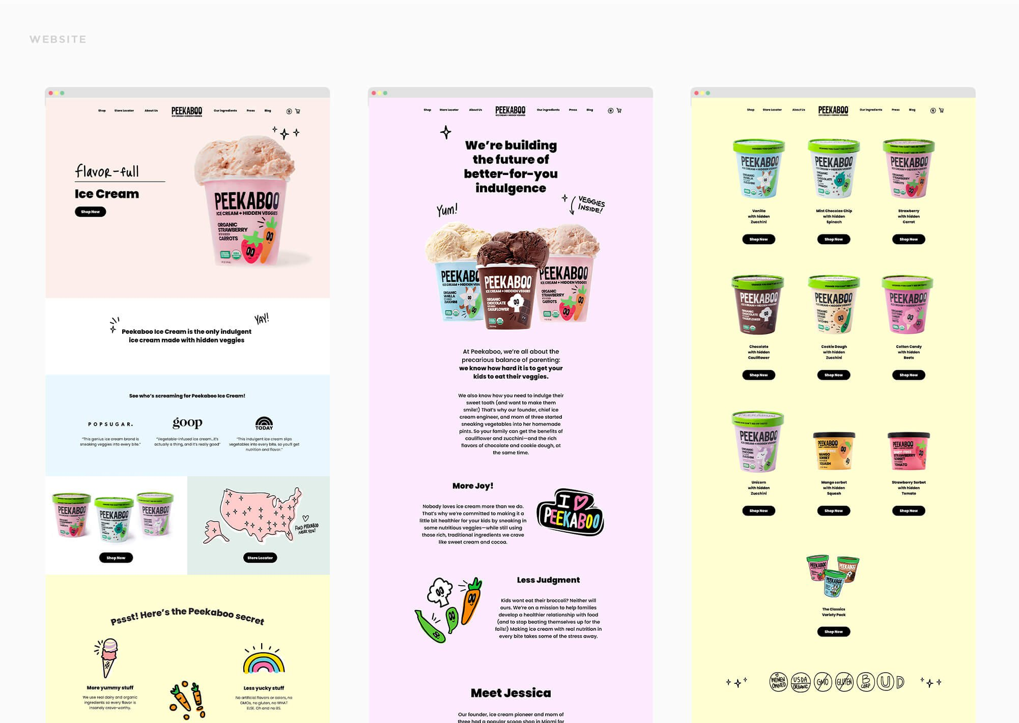 Jacober rebranding of Peekaboo Ice Cream. Photo of new website design