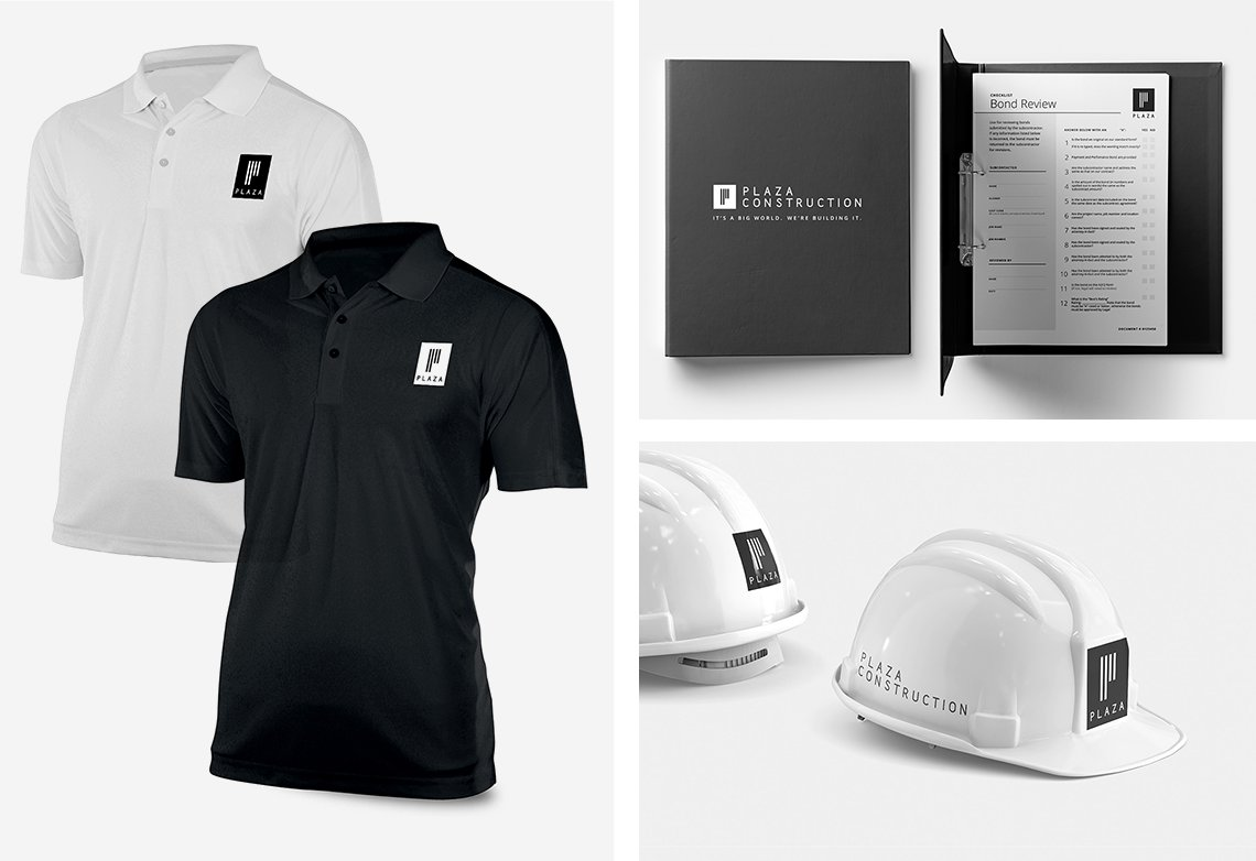 Jacober Creative Brand Identity for Plaza Construction - Photo of branded collateral on hardhats, polo shirt, and printed binder