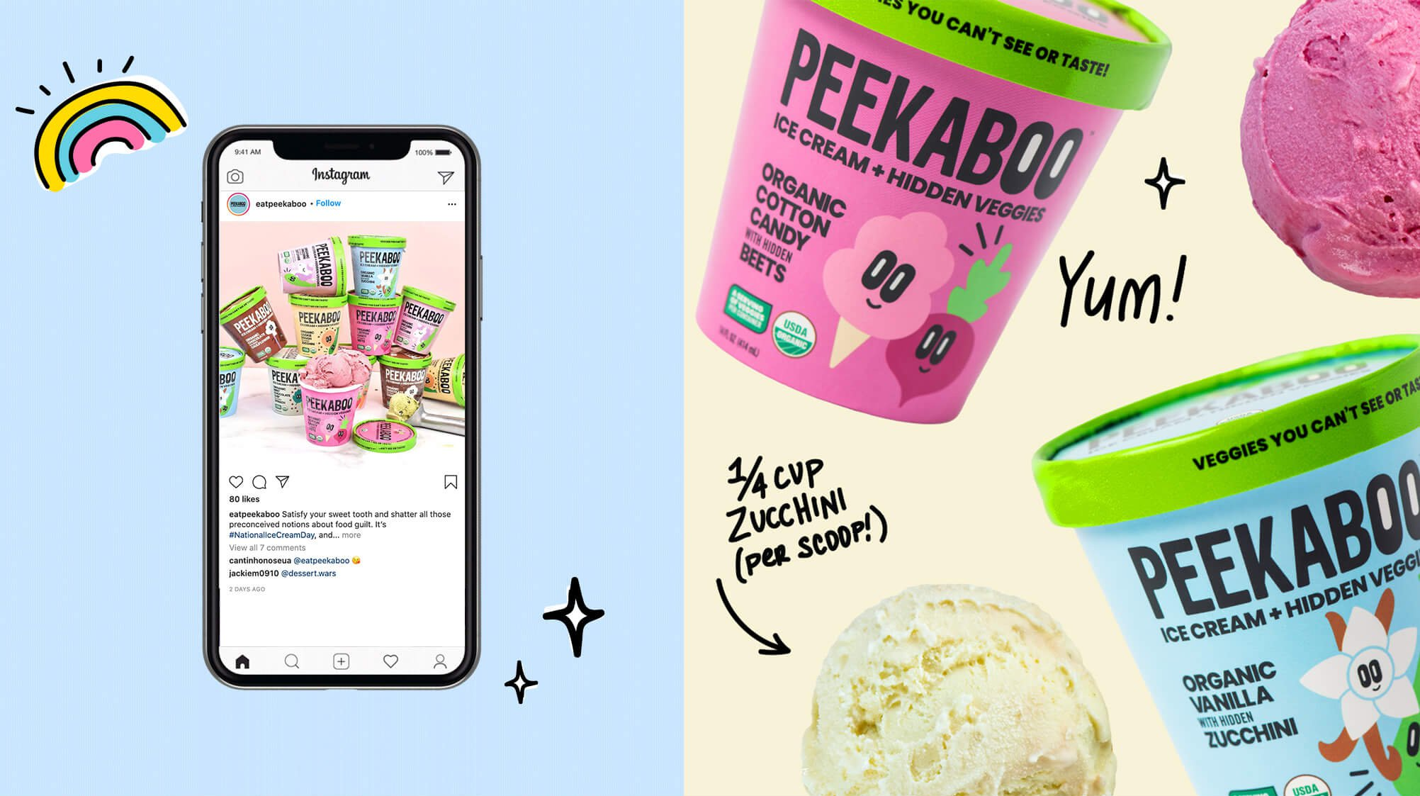 Jacober rebranding of Peekaboo Ice Cream. Photo of a social media post displayed on mobile device and a single graphic to the right