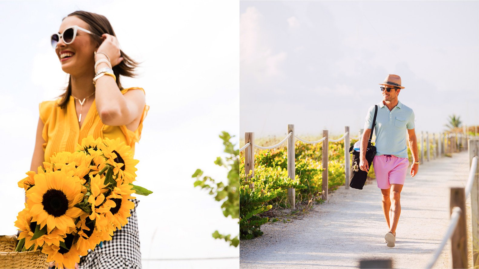Jacober Creative Identity and Campaign for the Town of Surfside Florida - Photo of campaign photography, Left: Woman riding a bike with sunflowers. Right: Man walks down the Surfside path holding a beach bag and wearing sunglasses.