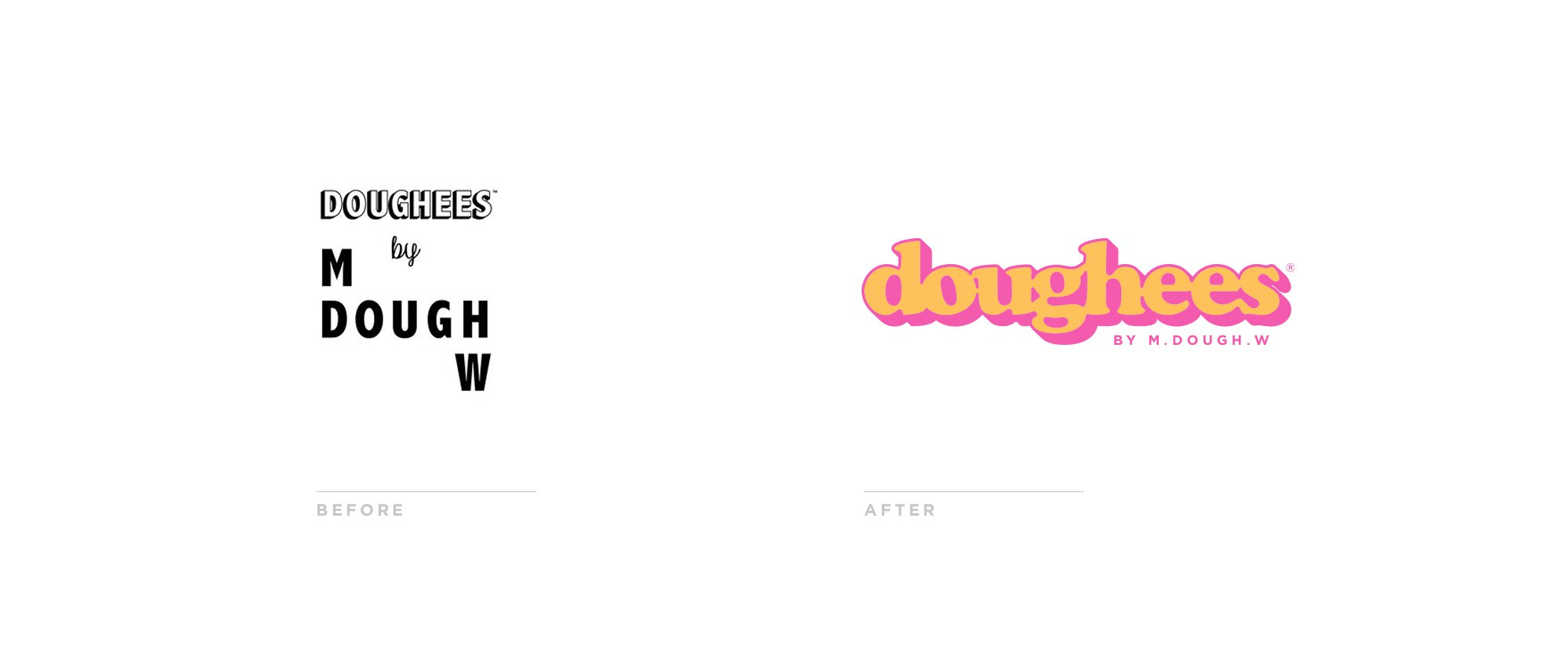 Doughees Logo Before and After