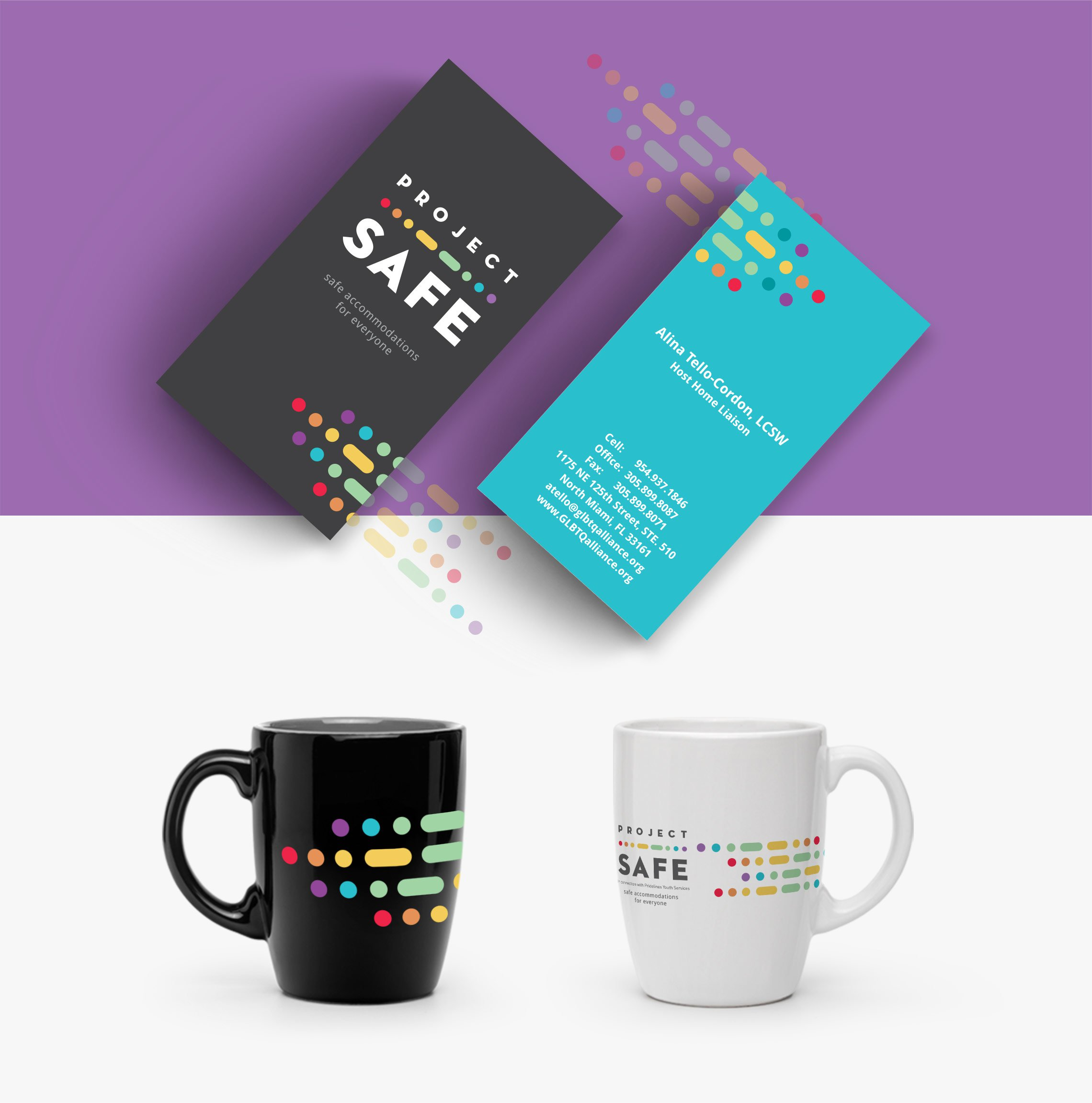 Project Safe branded business card and mug