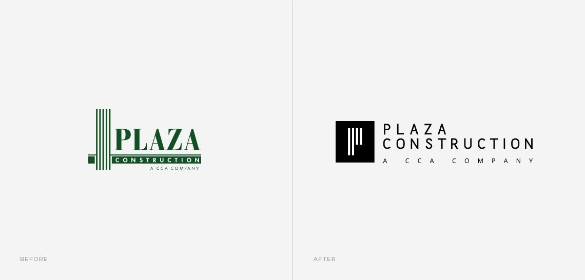 Jacober Creative Brand Identity for Plaza Construction - Photo of logo before and after