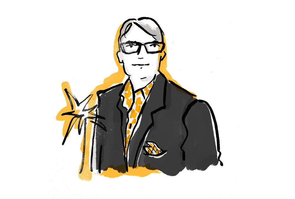 Illustration of Eric Newell, Editor-in-Chief of Celebrated Living, an Ink publication for American Airlines.