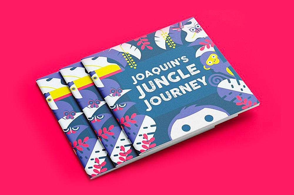 A one-of-a-kind beautiful, bilingual children's book, of course, that we wrote and designed ourselves! Joaquin's Jungle Journey tells a simple but elegant story, in rhyme, about young Joaquin's trip through the jungle.