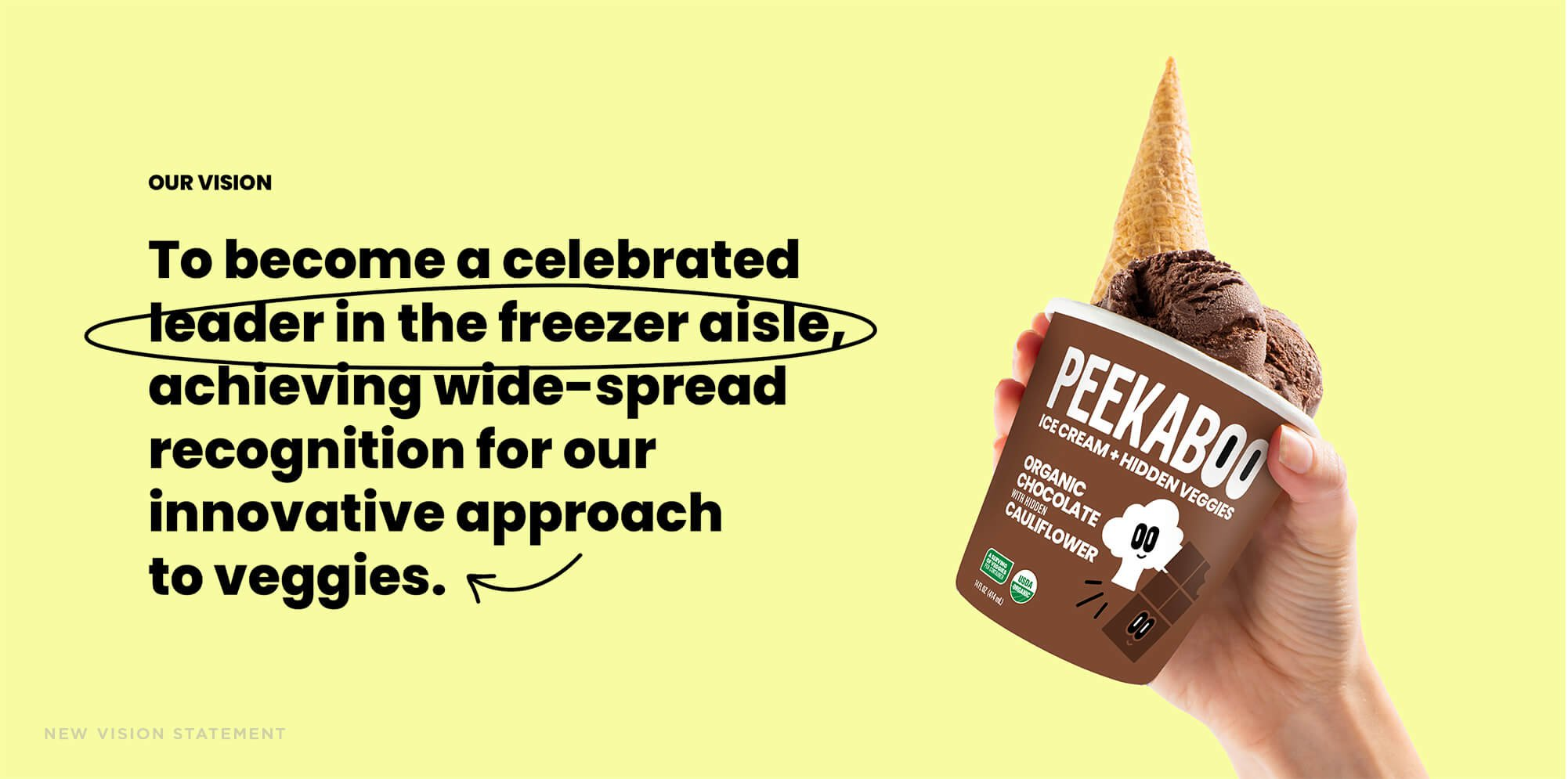"Jacober rebranding of Peekaboo Ice Cream. Photo of new vision statement: ""To become a celebrated leader in the freezer aisle achieving wide-spread recognition for our innovative approach to veggies."