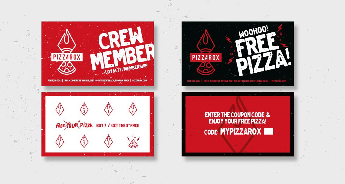 Pizza Rox promotional marketing card design