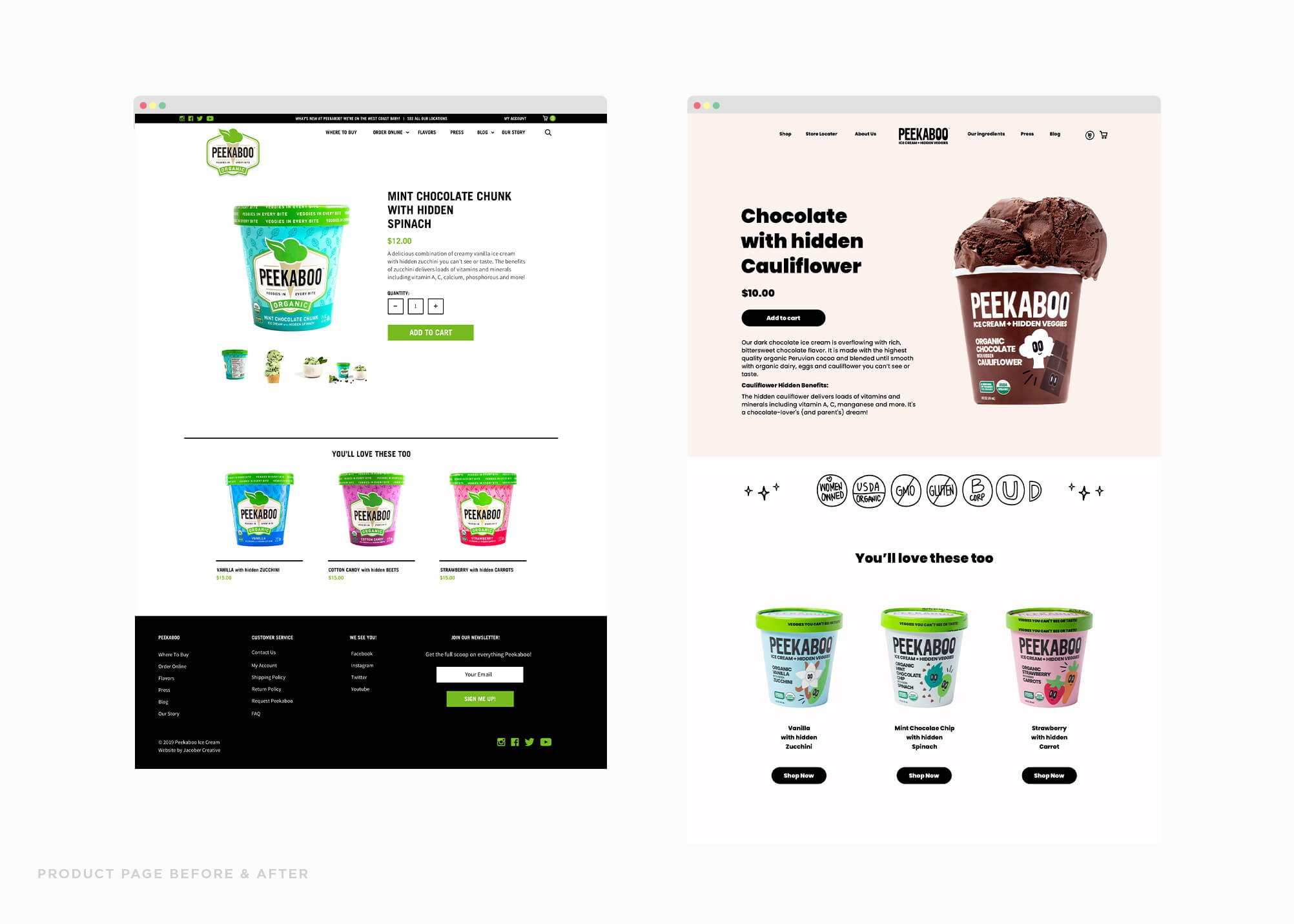 Jacober rebranding of Peekaboo Ice Cream. Photo of new website design; before and after of product page