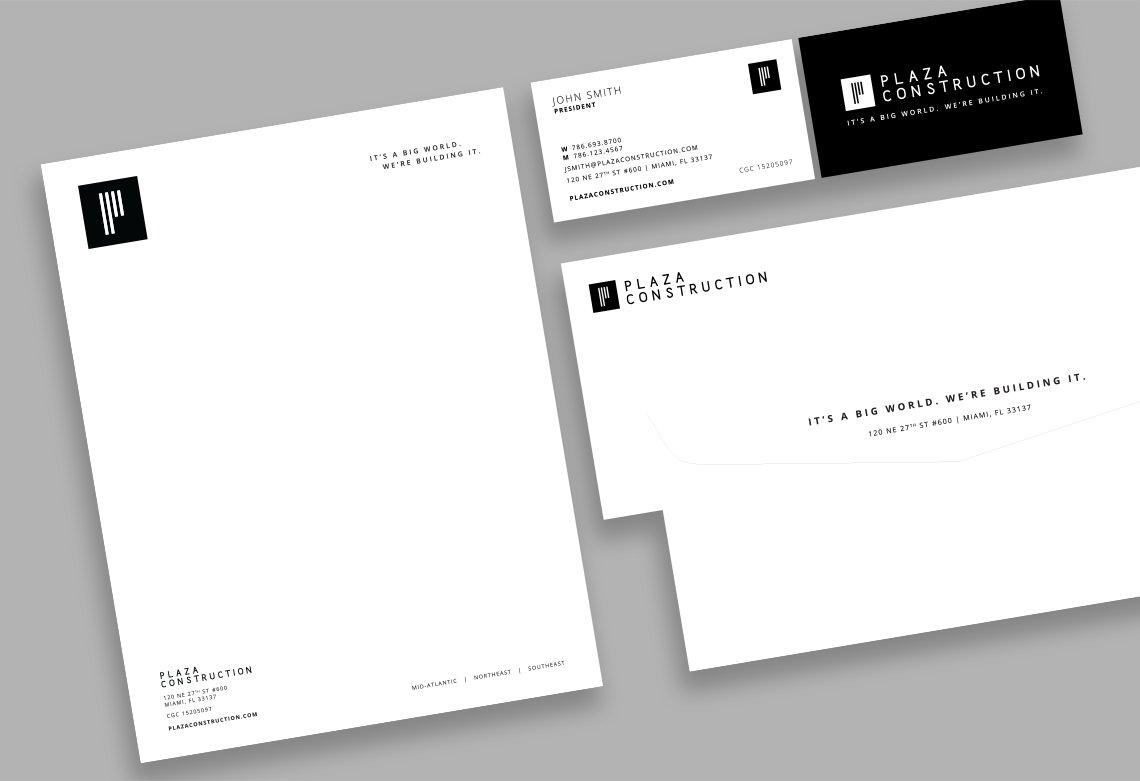 Jacober Creative Brand Identity for Plaza Construction - Photo of branded collateral on stationery