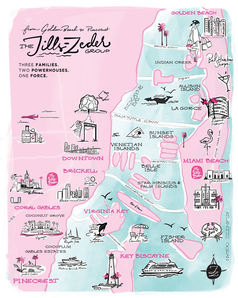 Jacober Creative and Jills-Zeder Group. Map illustration of South Florida