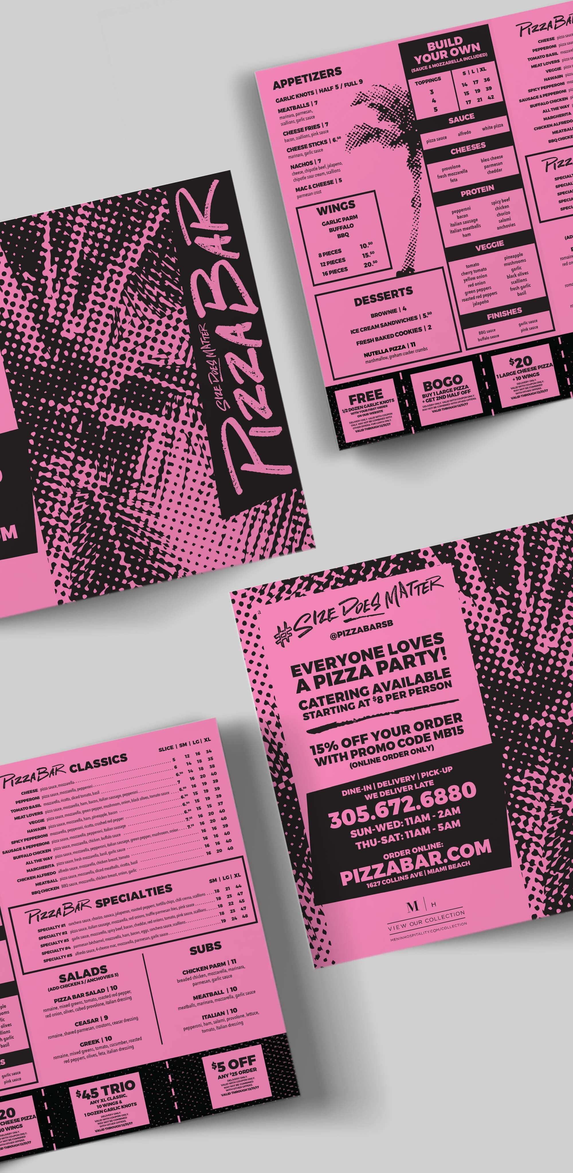 PIzza Bar branded menu design by Jacober Creative