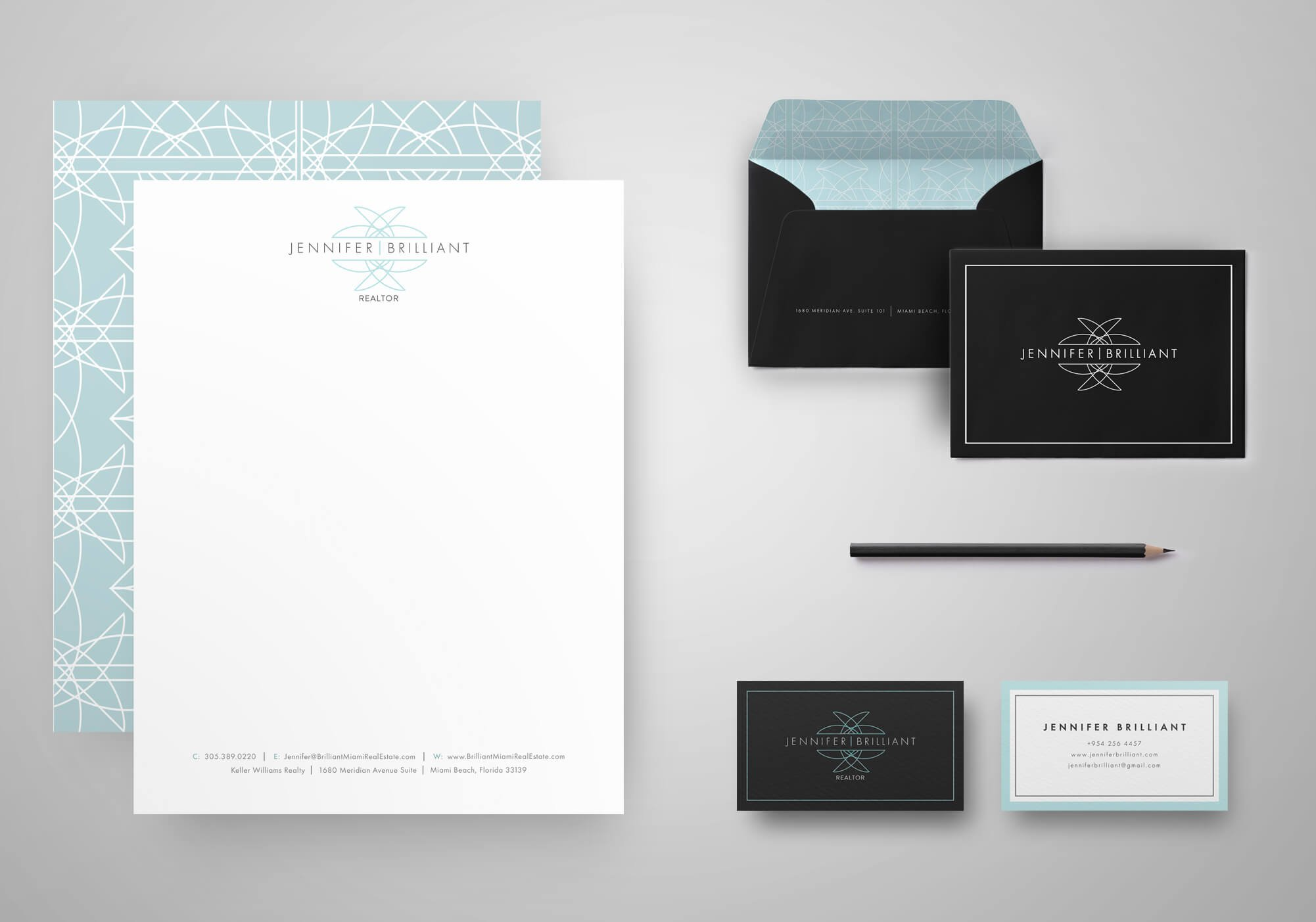 Jacober Creative stationery design for Realtor Jennifer Brilliant