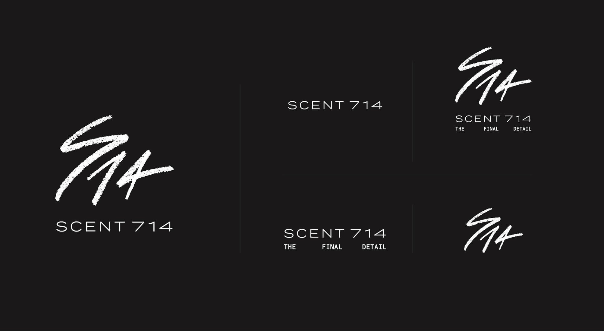 Jacober Creative Brand Identity for Scent 714 Custom Fragrances. Photo of logo variations.