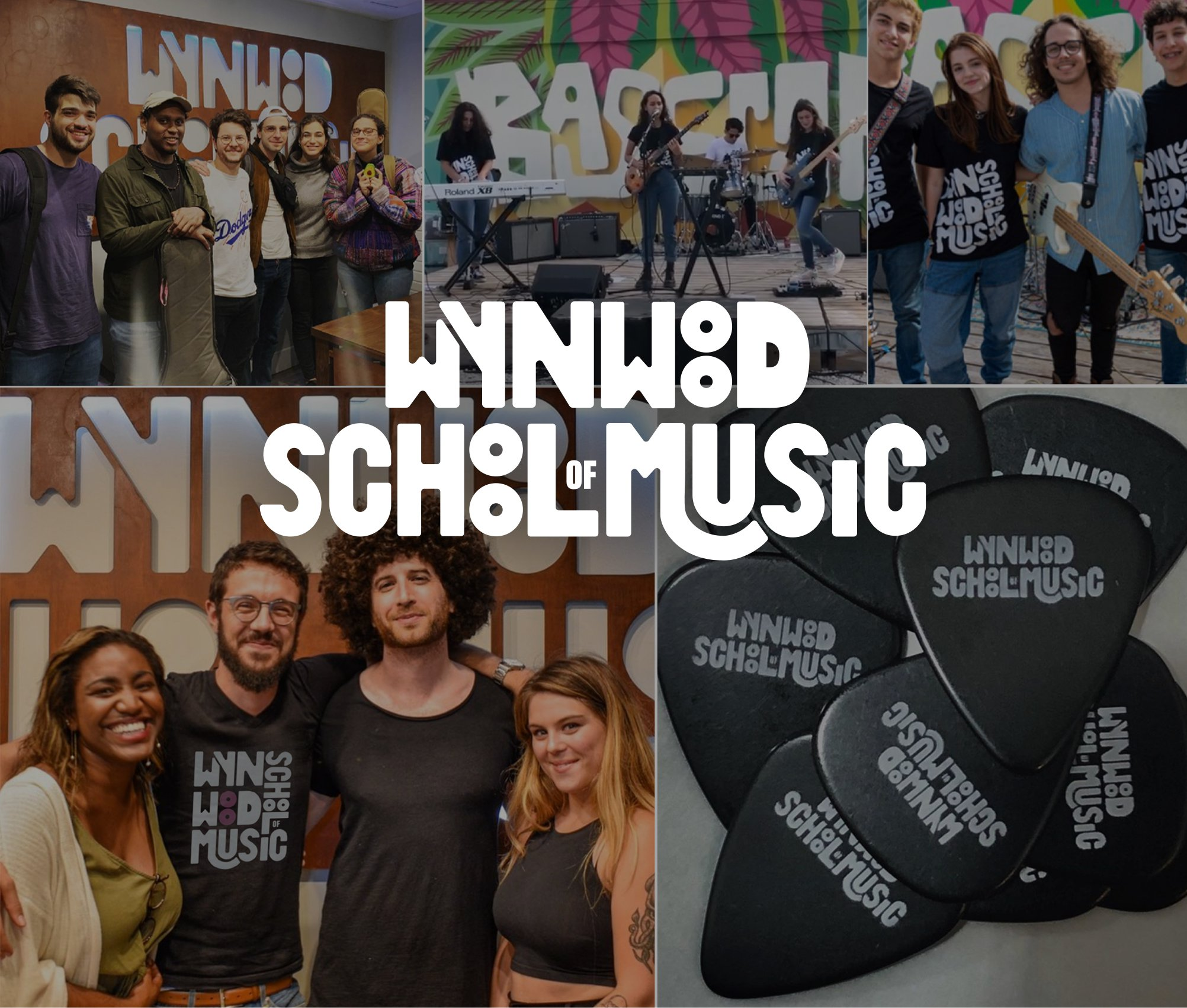 wynwood school of music logo with photo grid of students and teachers