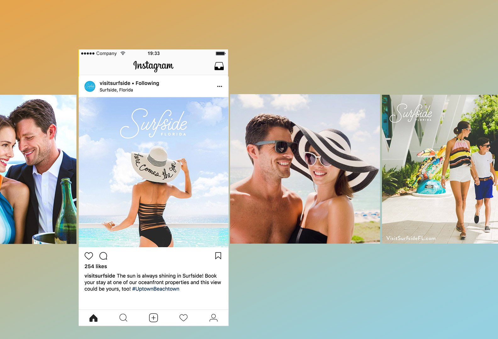 Jacober Creative Identity and Campaign for the Town of Surfside Florida - Photo of social media mockups featuring campaign photography