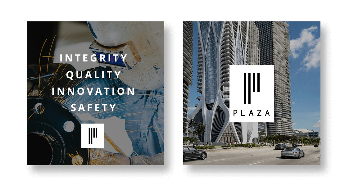 Jacober Creative Brand Identity for Plaza Construction - Photo of social media posts