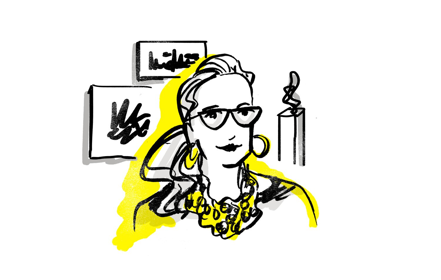 Illustration of Lorie Mertes, Executive Director of Locust Projects