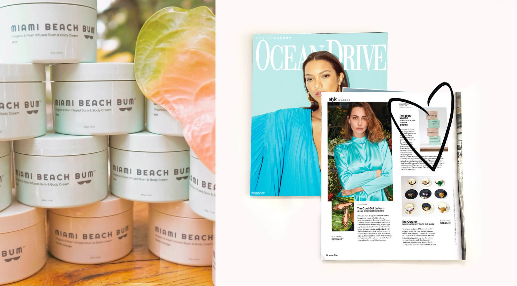 Jacober Creative Brand Identity for Miami beach Bum. Photo of packaging photography and a Press article in Ocean Drive.