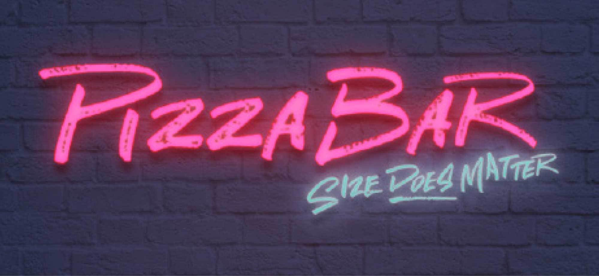 Pizza Bar branded neon sign