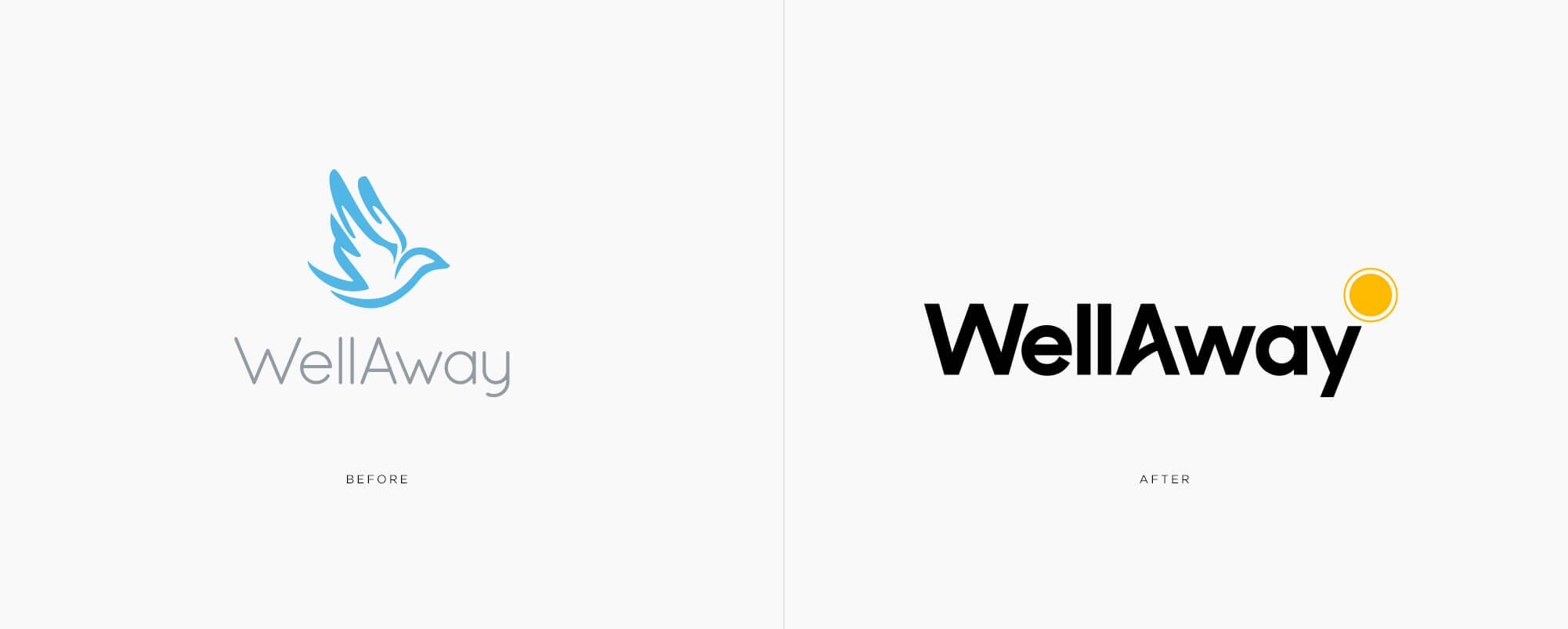 Jacober rebranding of WellAway Global Health Insurance, Image before and after of Wellaway logo