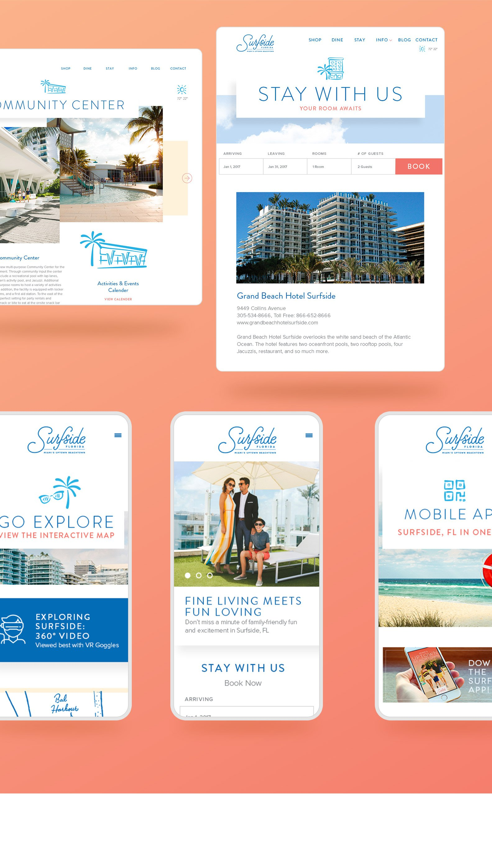 Jacober Creative Identity and Campaign for the Town of Surfside Florida - Photo of new responsive website featured on an ipad and iphone