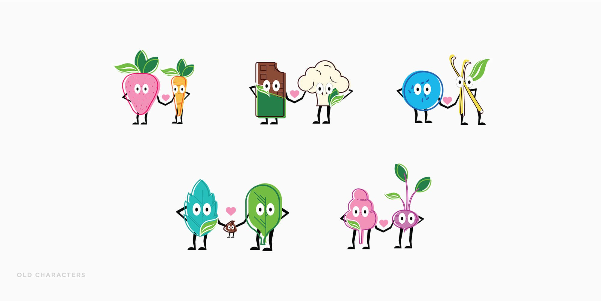 Jacober rebranding of Peekaboo Ice Cream. Photo of old line up of veggie characters illustration