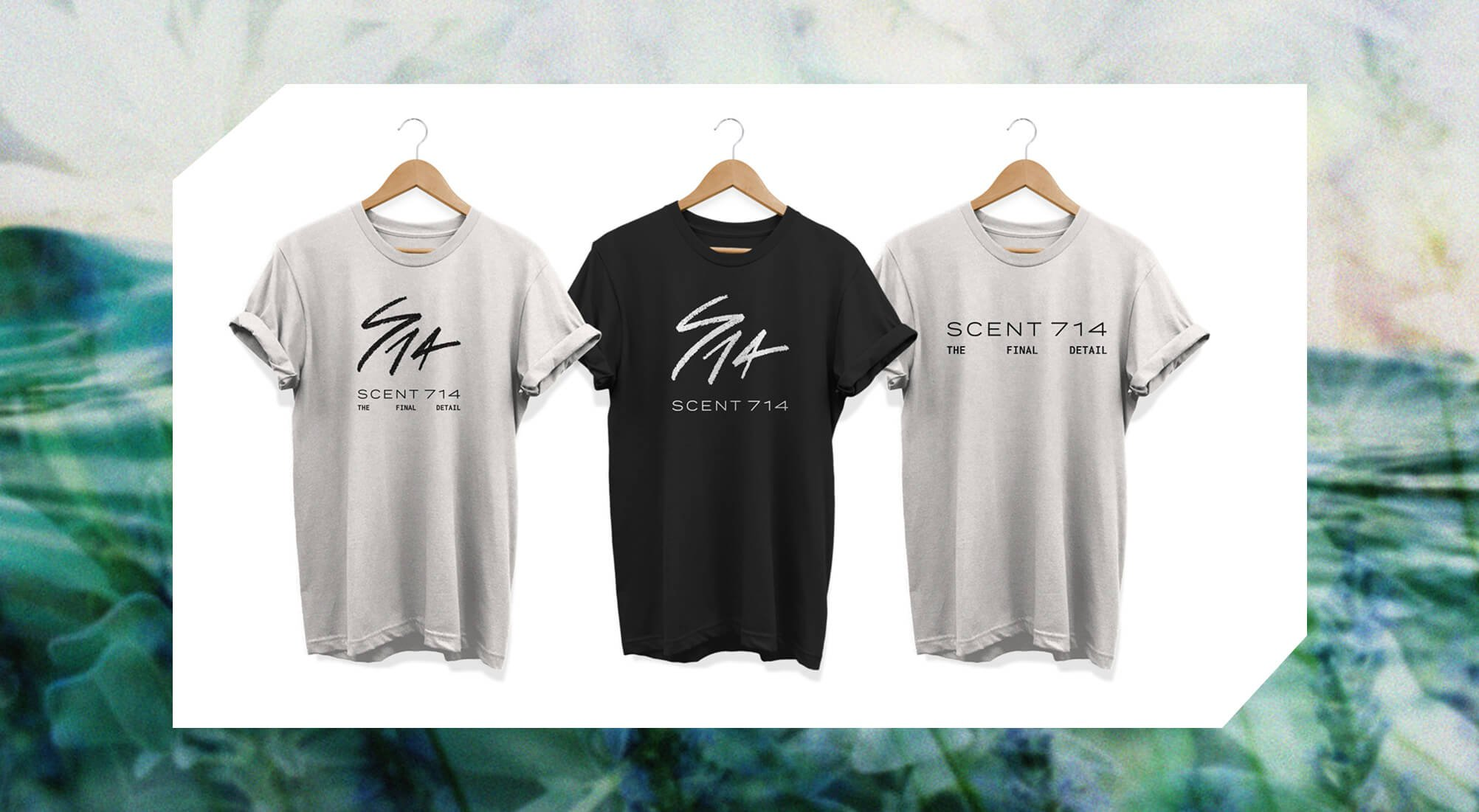 Jacober Creative Brand Identity for Scent 714 Custom Fragrances. Photo of apparel on t-shirts.